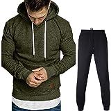 MGCG Tailleur Pantalone da Uomo in Felpa con Tasca a Maniche Lunghe Autunno e Inverno, Pullover con Cappuccio in Tinta Unita