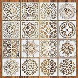 Comius Sharp Pochoir Mandala de Peinture, 16 Pièces Peinture Pochoirs, pochoirs réutilisables,Motif Mandala Découpe Laser, po