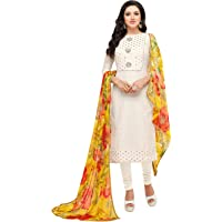 Rajnandini Women's Off White chanderi silk Embroidered Semi-Stitched Salwar Suit Material With Printed Dupatta (Free…