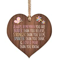 Always remember you are braver | best friends wooden hanging heart | sentimental inspirational gift for cheer up women…