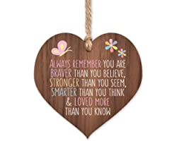 Always remember you are braver | best friends wooden hanging heart | sentimental inspirational gift for cheer up women | frie