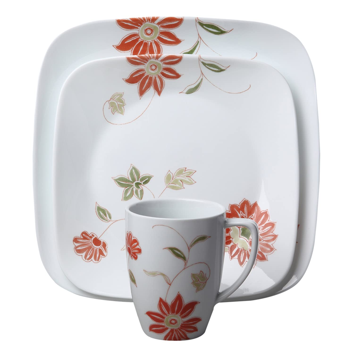 Corelle 16 Piece Square Jacaranda Dinnerware Set: Amazon.co.uk: Kitchen U0026  Home