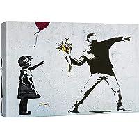 Banksy Graffiti Street Art Impression sur Toile Balloon Girl et Rage the Flower Thrower Tableau Pop Art Chambre Enfant…