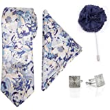 To The Nines Men's Jacquard Tie, Pocket Square, Cufflinks & Lapel Pin