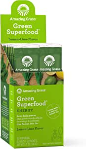 Amazing Grass, Green SuperFood, Lemon Lime Energy Drink Powder, 15 Individual Packets, 7 g Each