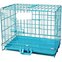 Pet Needs Metal Fold-able Cage/Crate with Plastic Removable Tray for Pets (X Small -18 inch- (L 43cm X W 30cm X H 35cm))