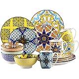 vancasso, Série Jasmin, Service de Table Complet en Porcelaine, 16 Pièces, Assiette Plate, Assiette à Dessert, Bols, Tasse Mu