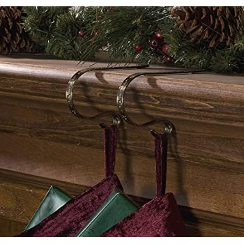 lubot pack of 2 christmas stocking holder hooks fireplace hanger gold