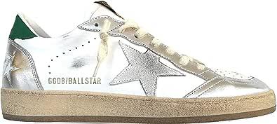 Golden Goose Scarpe Sneakers Uomo Vintage Ball Star 80185 Bianco-Verde-Argento