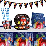 Yisscen Juego de vajilla para fiestas, decoración de cumpleaños para niños, fiestas de cumpleaños infantiles, platos, tazas,