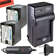 2 Pack of Replacement SSL-JVC50 Batteries and Battery Charger for JVC GY-HMQ10, GY-HM200, GY-LS300, GY-HM600, and GY-HM650 Br