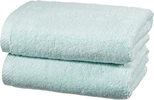 AmazonBasics Quick Dry Cotton Towel Set, 2 Hand - Ice Blue
