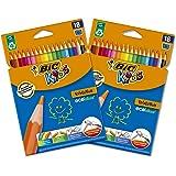BIC Kids Matite Colorate, Ottimi per la Scuola,Evolution ECOlutions, Colori Assortiti, Colori per Bambini, 2 Pacchi da 18 Mat
