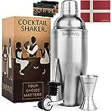 Professionelles Cocktail Shaker Set mit Doppeltem Jigger & 2 Alkohol Ausgießer von Barvivo - 710ml Martini Mixer Aus…