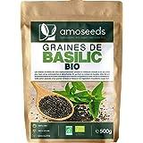 Graines de Basilic Bio 500G | Exclusivité Française | Perte de Poids, Digestion, Détox, Peau | Similaires aux Graines de Chia