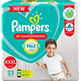 Pampers All round Protection Pants, Extra Extra Extra Large size baby diapers (XXXL), 23 Count, Anti Rash diapers, Lotion wit