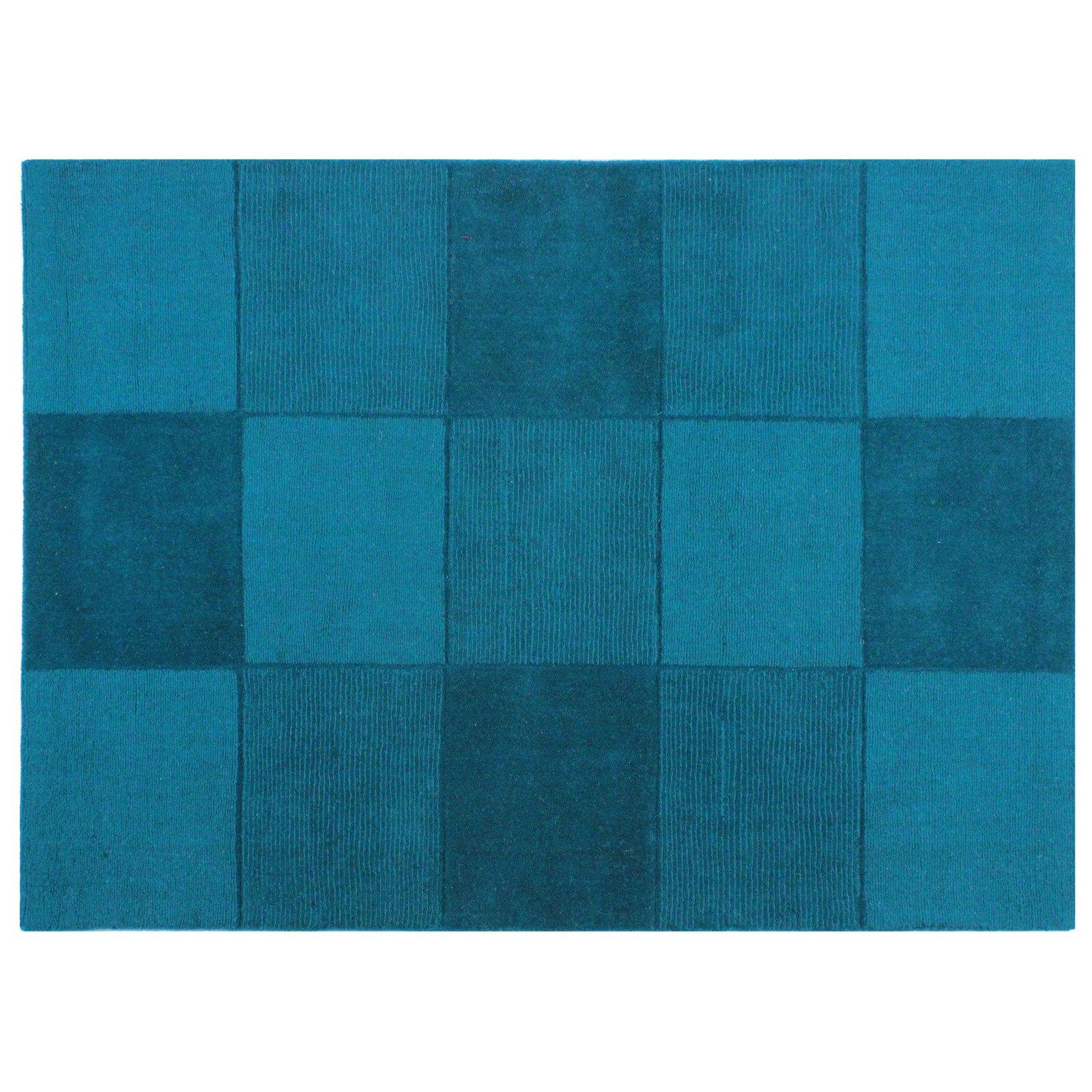 Just Contempo quadrati Tappeto di lana, colore: blu, 110�x 160�cm