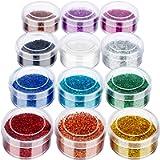 12 Pots Extra Fine Glitter, FANDAMEI Acrylic Nail Glitter, Fine Slime Glitter for Arts & Crafts, Cosmetic Glitter Powder…