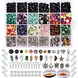 Hongyans 1068 Piezas Cuentas de Piedra Lava Naturales Cuentas de Piedras Preciosas Irregulares Kit de Fabricación de Joyas Br