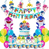 Party Propz Baby Shark Theme Birthday Decorations -60Pcs Combo Set - Shark Theme Happy birthday Banner, Balloons, Cake Topper
