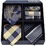 HISDERN Lot 3 PCS Classique elegant Pour des hommes Ensemble de cravate en soie Cravate & Carre de poche - Ensembles multiple