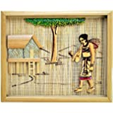 Healthy harvest Traditional Handcrafted Wooden Bamboo Painting of Hut with Lady Wall Hanging (Frame)
