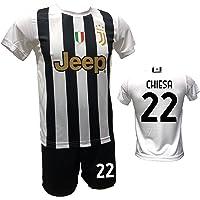 DND DI D'ANDOLFO CIRO Completo Calcio Maglia bianconera Home Federico Chiesa 22 e Pantaloncino con Numero 22 Stampato…