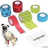Eco-Fused Fasce Autoadesive - Nastro per Ferita per Cani - Confezione da 6 - Supporta Muscoli e Articolazioni - Facile da App