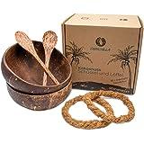 Chinchilla® Förpackning med 2 kokosskålar + träskedar + låsringar | 100 % naturlig Buddha-skål för müsli, sallader, soppor |