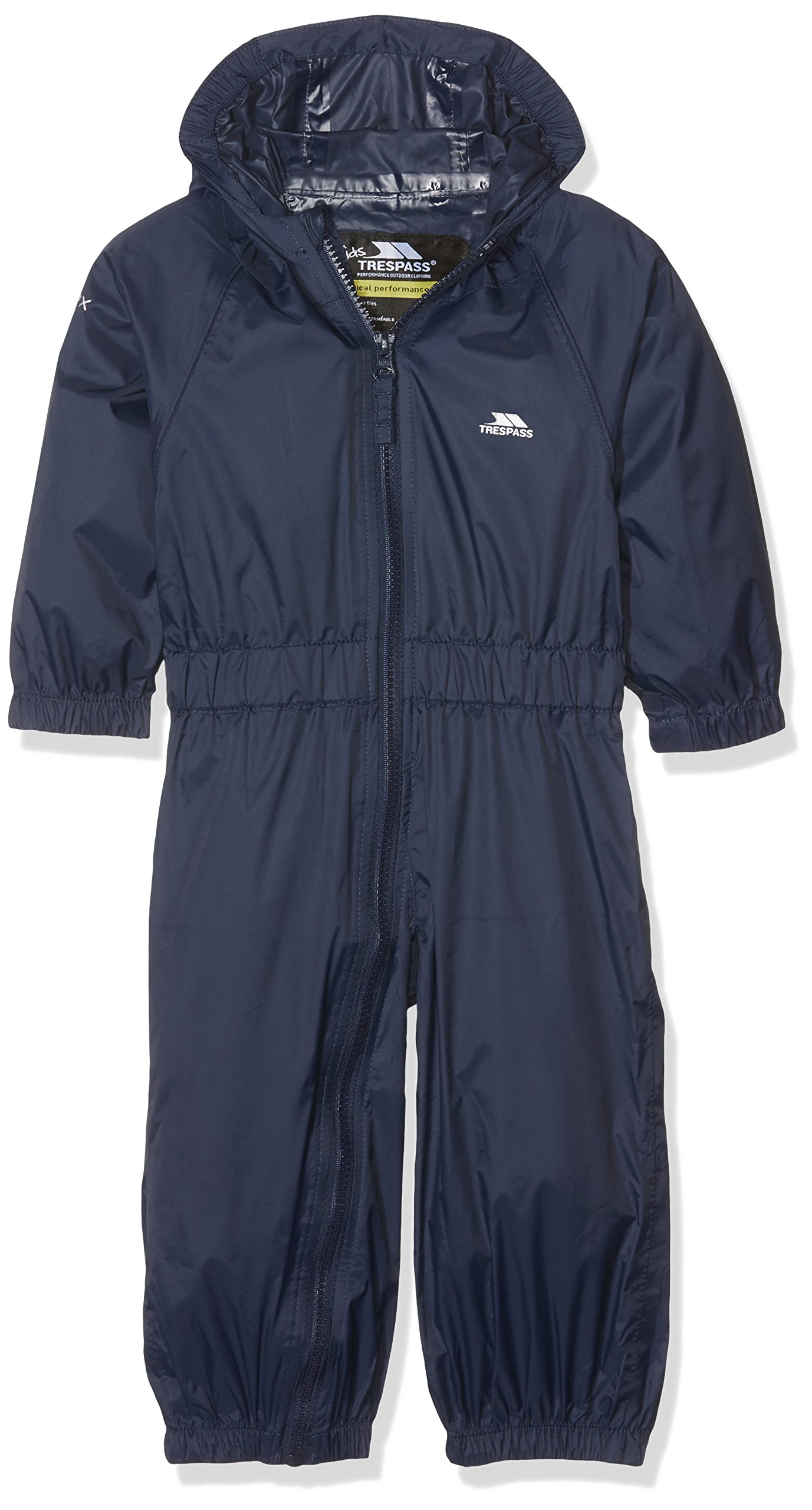 Trespass - Button, Tuta da pioggia per bambini, unisex, Blu, 2/3 anni