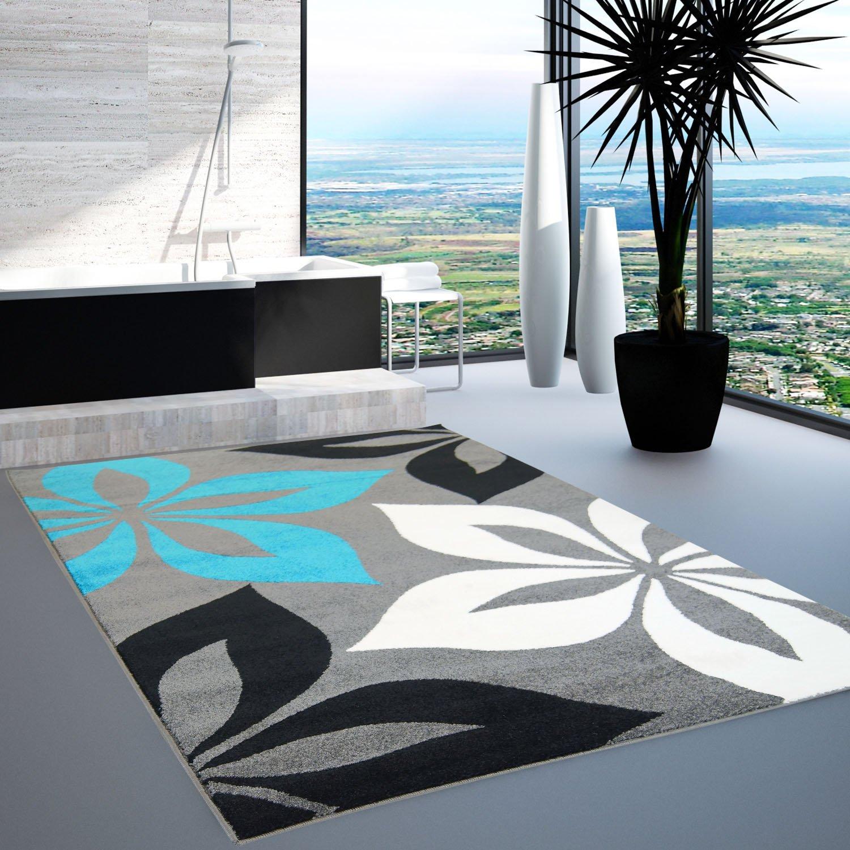 teppich modern moda Öko-tex blume grau türkis creme schwarz 80x150 ... - Wohnzimmer Schwarz Weis Turkis