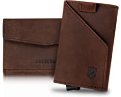 DODENSHA Wallets Mens Slim Card Holder RFID Blocking Wallet Leather Compact Wallet for Men Pop up Credit Card Holders with Co