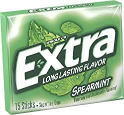 Wrigley's Extra Spearmint 15 Sticks Sugar Free Gum, (Pack of 2)