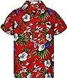 V.H.O. Funky Hawaiihemd | Herren | Kurzarm | Front-Tasche | Hawaii-Print | Kirschblüten Papagei Blätter Sommer