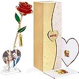 FORGIFTING Amore Idee Regalo per Lei, Fiori Rosa Eterna con 1 Cornici Foto, 1 Biglietto Auguri - Regalo Donne Mamma, Regalo C