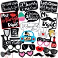 Wobbox 25th Anniversary Photo Booth Party Props DIY Kit, Red Glitter & Black , Anniversary Party Decoration 24 Pcs