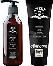 LBERT Combo Pack of Moroccan Argan Oil Shampoo with Conditioner – 250 ML & Activated Charcoal Face Wash For Men & Women - 100 ML