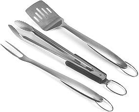 Rustler Grillbesteck Set aus rostfreiem Edelstahl | Grill Zubehör ist 3 teilig: Grillzange, Fleischgabel, Fleischwender | Besteck mit gummierten Griffen