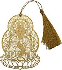 Skywalk Art and Craft Lord Buddha Metal Bookmark with Tassel, Pendant Charm, School Supplies Page Holder Charm (Golden)