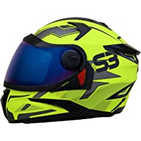 Steelbird SBH-17 Terminator Full Face Graphic Helmet (Large 600 MM, Glossy Fluo Neon Helmet Fitted with Clear Visor and…