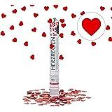 Relaxdays Party-Popper mit Herzen 40 cm, 6-8m Effekthöhe, Hochzeitsdeko, Konfetti-Kanone, Hochzeitsgeschenk, rot
