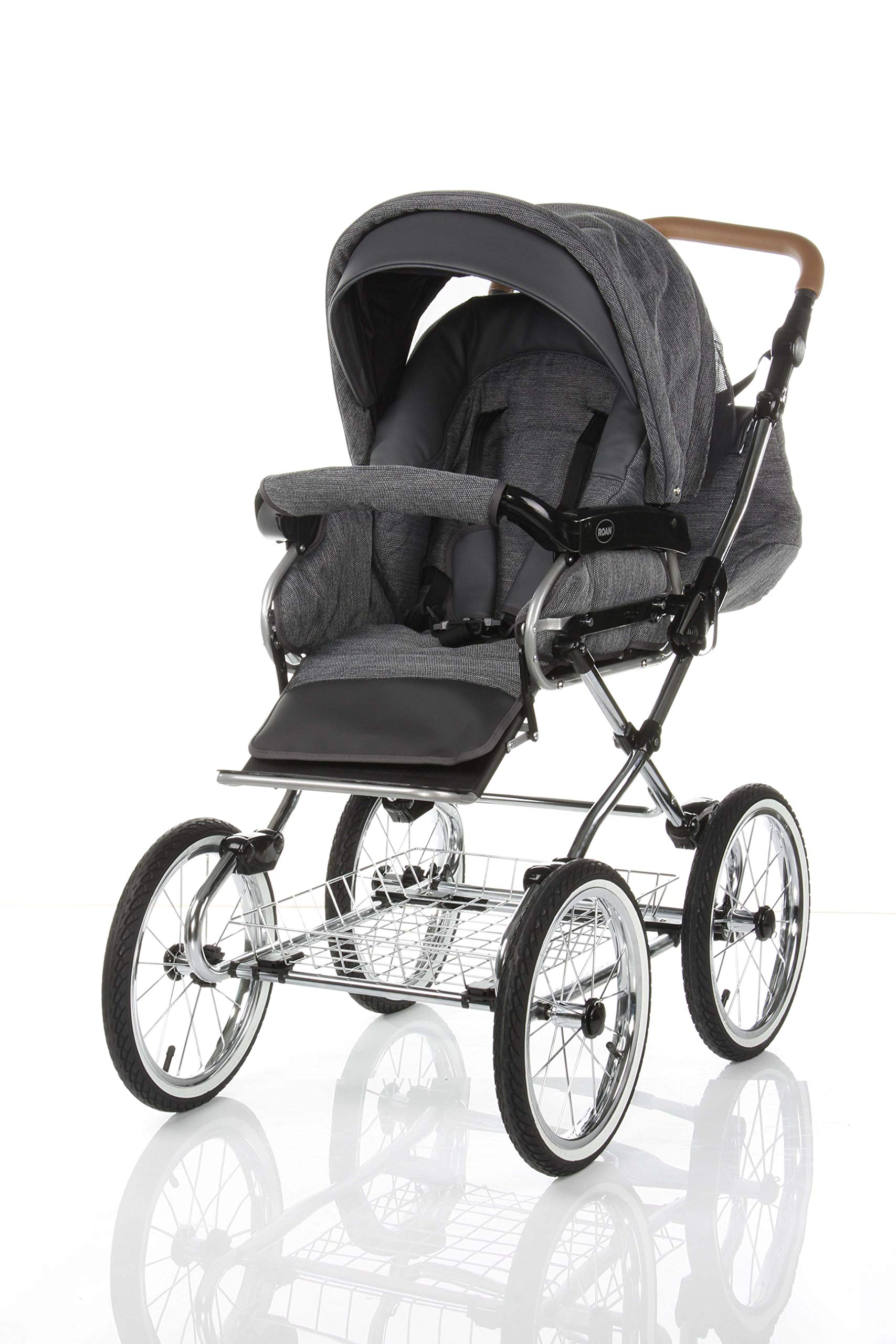 Children's Pram Buggy Stroller Combination Car seat Classic Retro Baby Carrier ROAN Emma (E-81 Dark Grey Melange-Grey Leather, 2IN1) JUNAMA Frame / wheels Sturdy and lightweight aluminum frame construction with folding function 1-click system for easy assembly and disassembly Practical carrying handle for easy storage of the folded frame Wheels for inflating (14 inch) removable wheels Brake system with central brake Height-adjustable push handle - 10-fold matching shopping basket Dimensions folded with wheels: 86 x 60 x 40 cm folded without wheels: 76 x 60 x 26 cm Total height of the stroller to hood top: 106 cm Height of the tub from the ground: 60 cm Wheelbase External dimensions: 80x 58 cm Variable height of the push handle: 77- 119 cm Weight of the frame incl. Wheels and carrying bag 15 kg Carrycot Length and width of carrycot outside: 88 x 42 cm Carrying bag length and width inside: 76 x 35 cm Sturdy plastic tub with comfortable mattress and side protection Ventilation slots on the plastic tub The baby car seat 0-13 kg Maxi-Cosi in black incl. Adapter 5