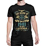 buzz shirts Mens 40th Birthday Gift - Life Begins at 40 Mens Organic Cotton T-Shirt - Born in 1981