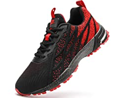 HIIGYL Mens Trainers Road Running Shoes Walking Tennis Trainers Fitness Gym Trainers Lightweight Jogging Shoes Comfortable Br