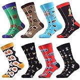 WeciBor Men's Fun Dress Socks Colorful Funky Fancy Novelty Patterned Cotton Crew Socks