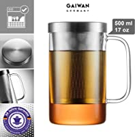 GAIWAN PURE550S - Tea Glass with Incorporated Strainer and Lid - Dishwasher safe - Heat resistant