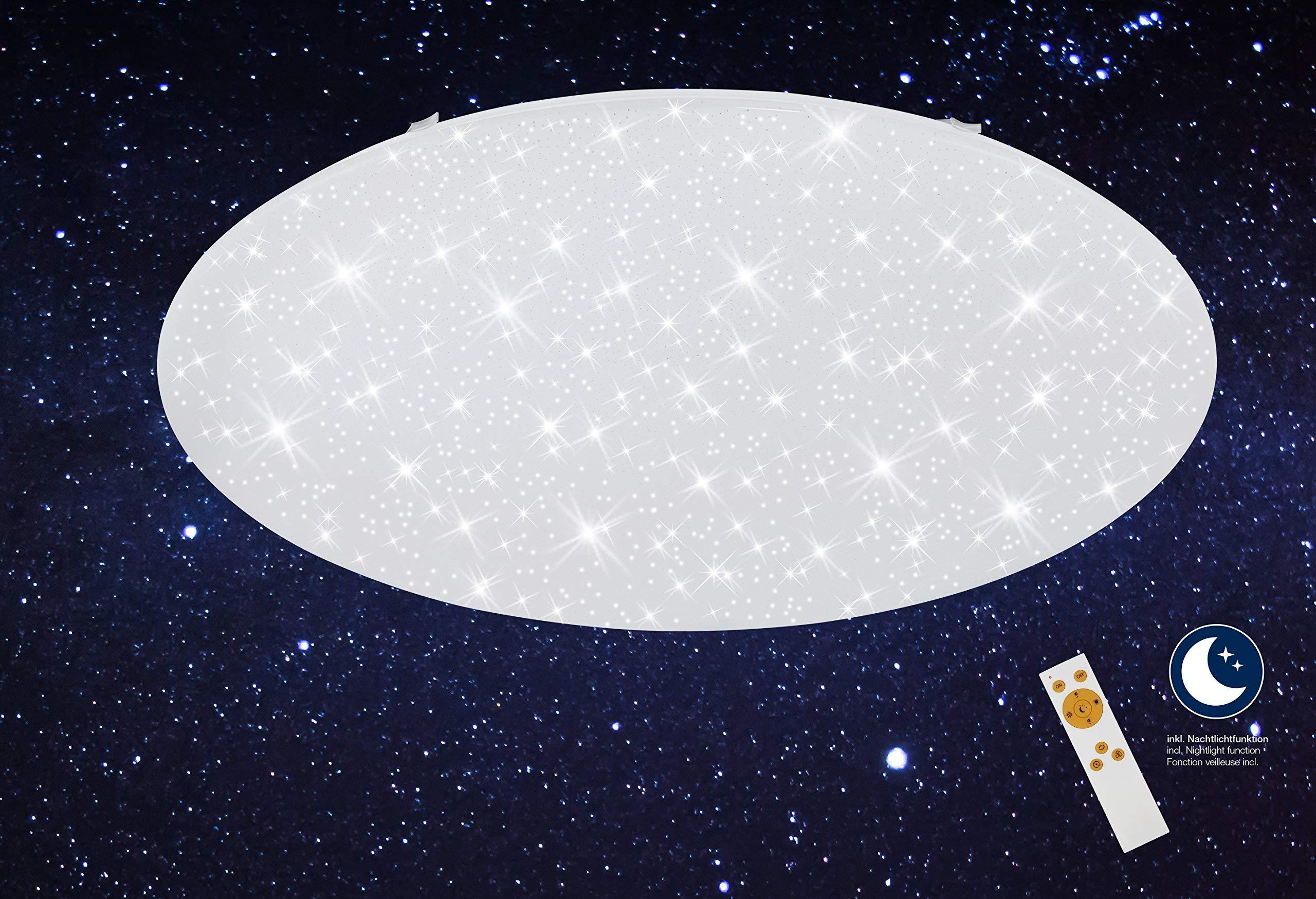 Briloner Leuchten Plafoniera a LED da soffitto – Dimmerabile, Design con Stelle, Regolazione della Temperatura di Colore con Telecomando, 48 Watt, 400 W, Bianco