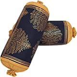 Jai Siya Ram Printers Cotton 144 TC Bolster Cover, Standard, Navy, 2 Pieces