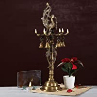 Two Moustaches Brass Peacock Deepak Stand | Home Decor |