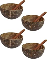Narla Coconut Shell Cereal Bowls and Spoons, 8 Pieces, Brown